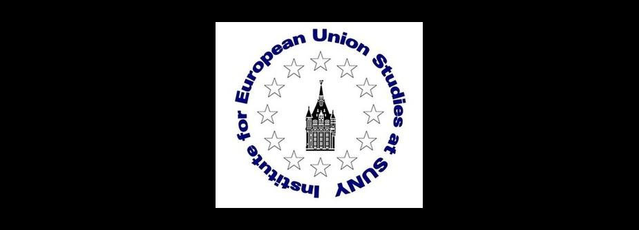 This is the logo of the Institute for European Union Studies.  It is a building tower surrounded by white starts.  The Institute's name is in a circle in blue font around the starts.